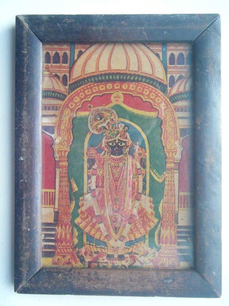 Hindu God Shrinathji Krishna Avatar Old Print in Old Wooden Frame India #2761