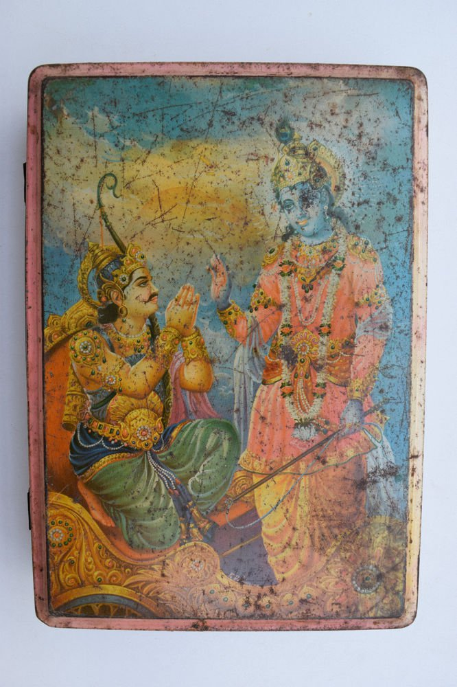Old Sweets Tin Box, Rare Collectible Litho Printed Tin Boxes India #1358