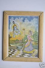God Krishna & Meera Collectible Old Religious Print in Old Wooden Frame #3177