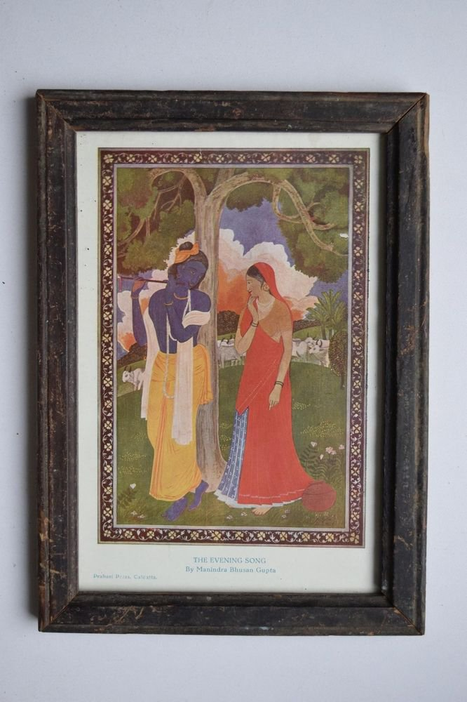 God Krishna & Radha Collectible Old Religious Print in Old Wooden Frame #3179