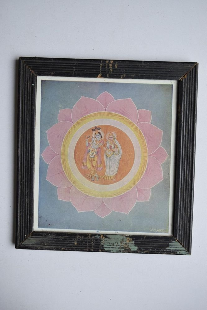 God Krishna & Radha Collectible Old Religious Print in Old Wooden Frame #3181