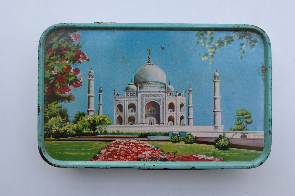 Old Sweets Tin Box, Rare Collectible Litho Printed Tin Boxes India #1346