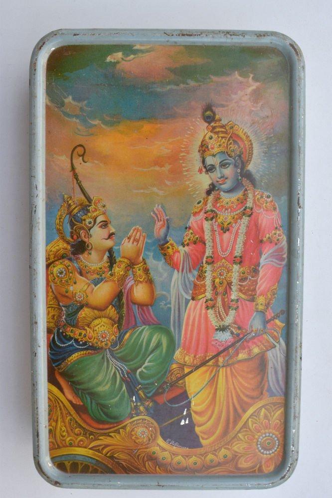 Old Sweets Tin Box, Rare Collectible Litho Printed Tin Boxes India #1355