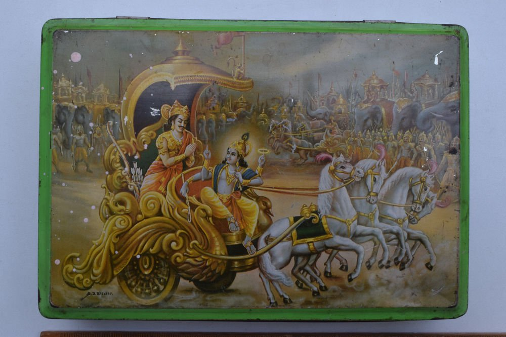Old Sweets Tin Box, Rare Collectible Litho Printed Tin Boxes India #1357