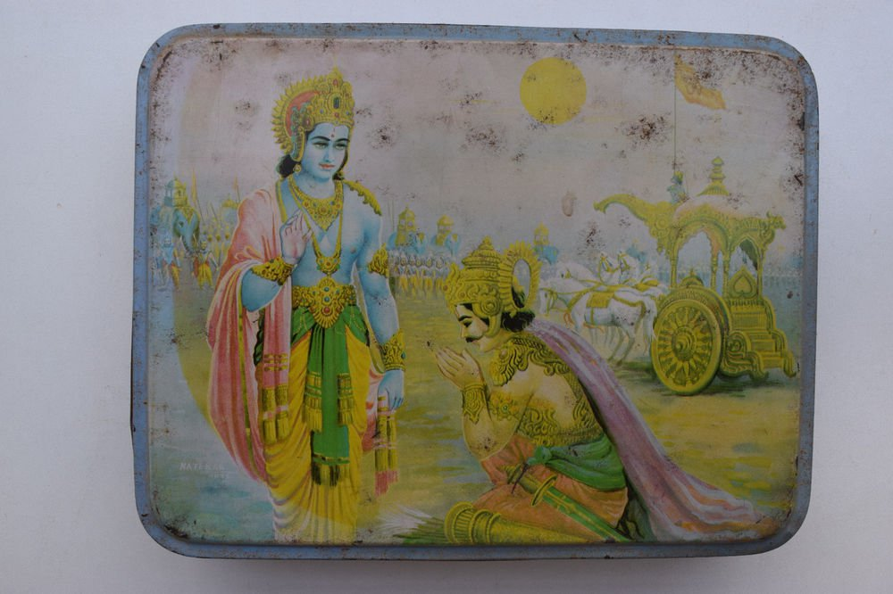 Old Sweets Tin Box, Rare Collectible Litho Printed Tin Boxes India #1359