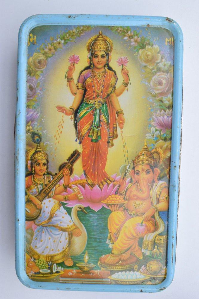 Old Sweets Tin Box, Rare Collectible Litho Printed Tin Boxes India #1376