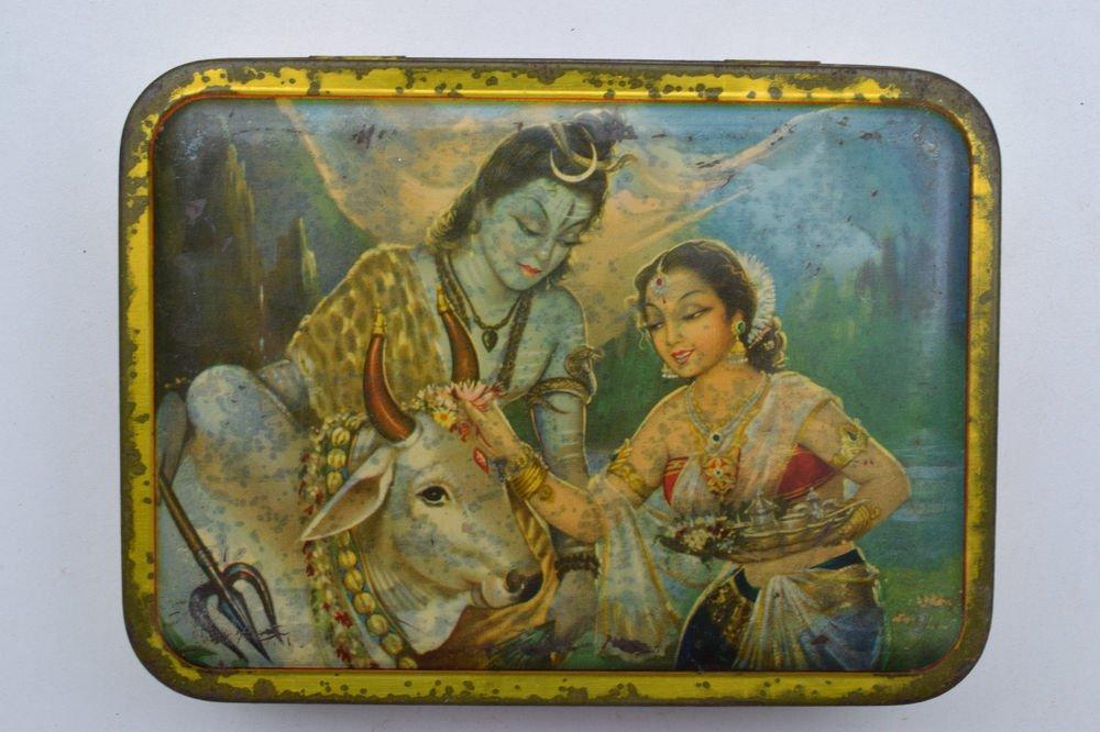 Old Sweets Tin Box, Rare Collectible Litho Printed Tin Boxes India #1380