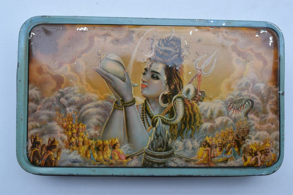 Old Sweets Tin Box, Rare Collectible Litho Printed Tin Boxes India #1388