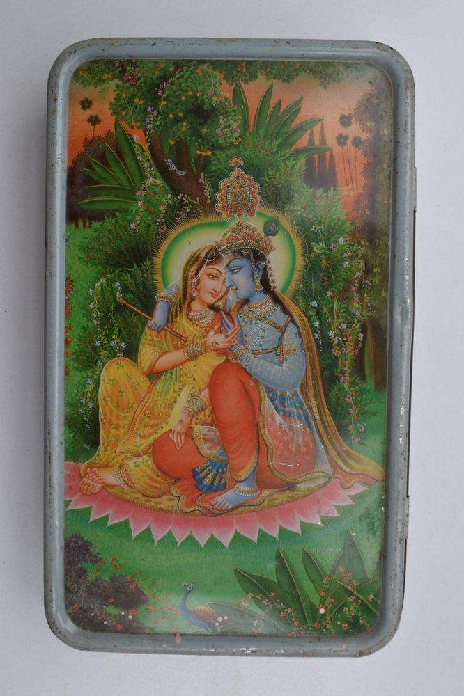Old Sweets Tin Box, Rare Collectible Litho Printed Tin Boxes India #1410