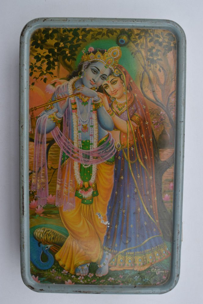 Old Sweets Tin Box, Rare Collectible Litho Printed Tin Boxes India #1411