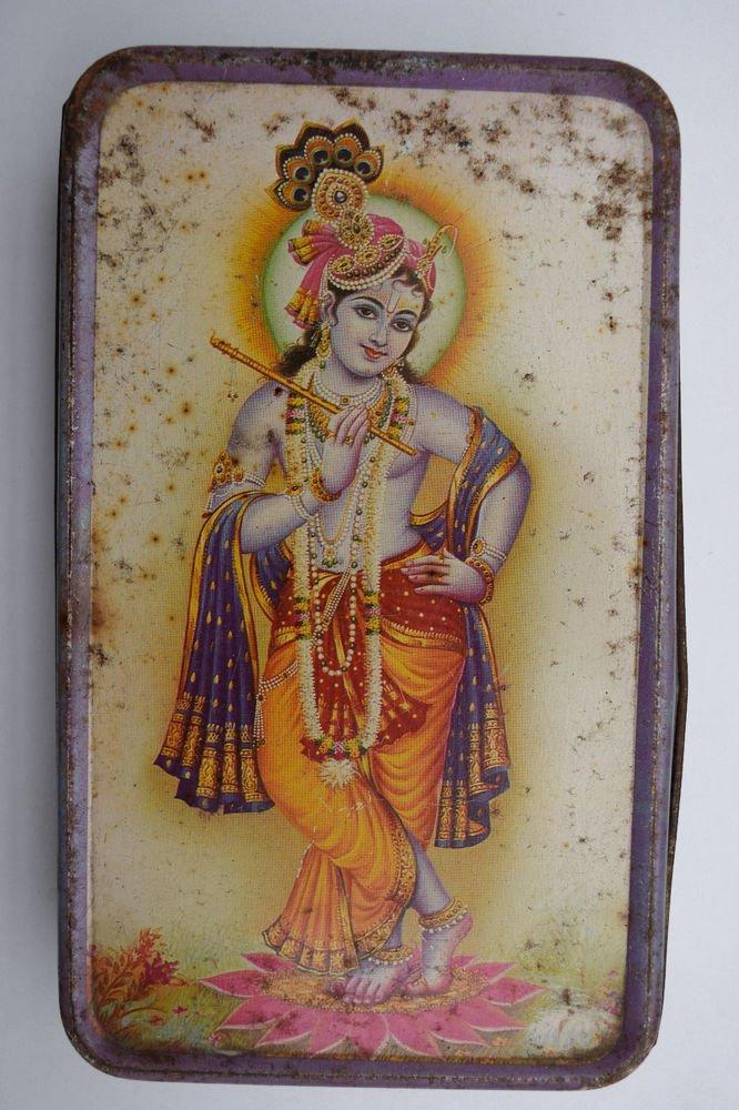 Old Sweets Tin Box, Rare Collectible Litho Printed Tin Boxes India #1422