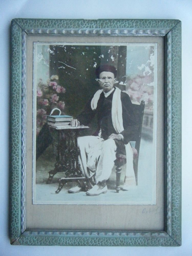 Original Old Hand Colour Photograph Beautiful Photo in Old Wooden Frame #2676