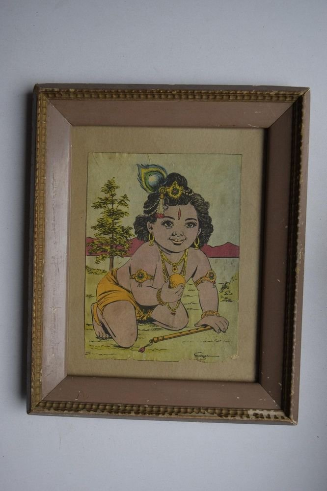 God Krishna Rare Collectible Old Religious Print in Old Wooden Frame #3190
