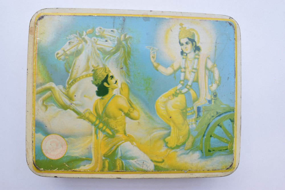 Old Sweets Tin Box, Rare Collectible Litho Printed Tin Boxes India #1360