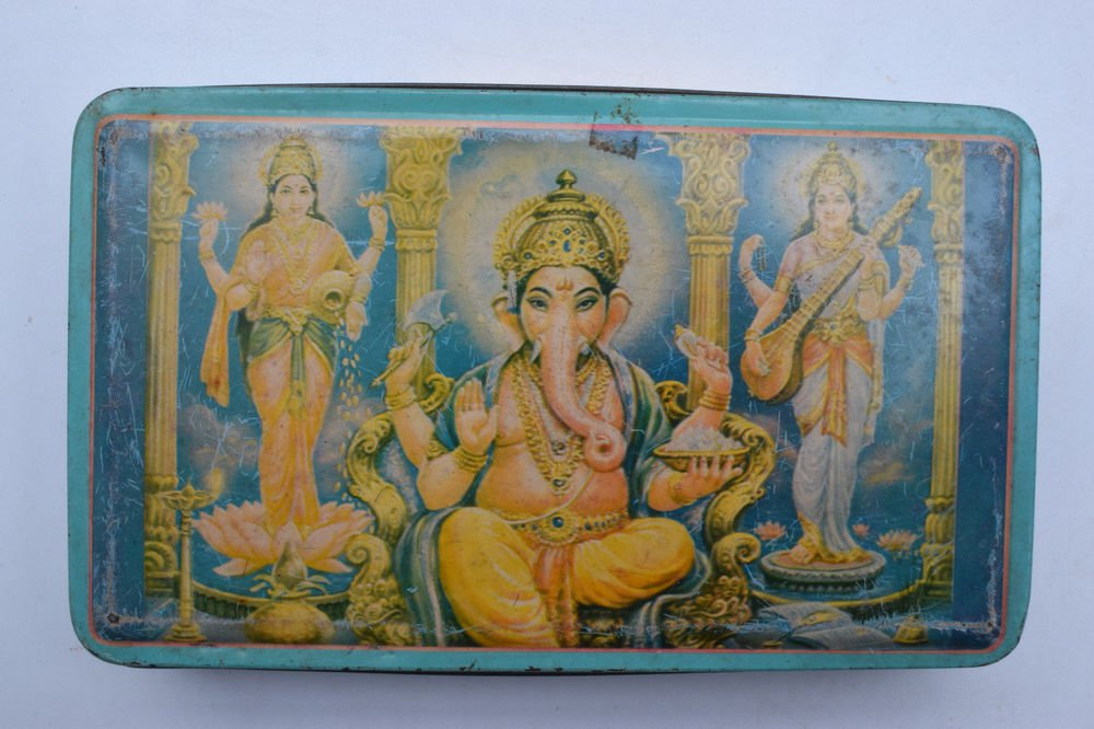 Old Sweets Tin Box, Rare Collectible Litho Printed Tin Boxes India #1401