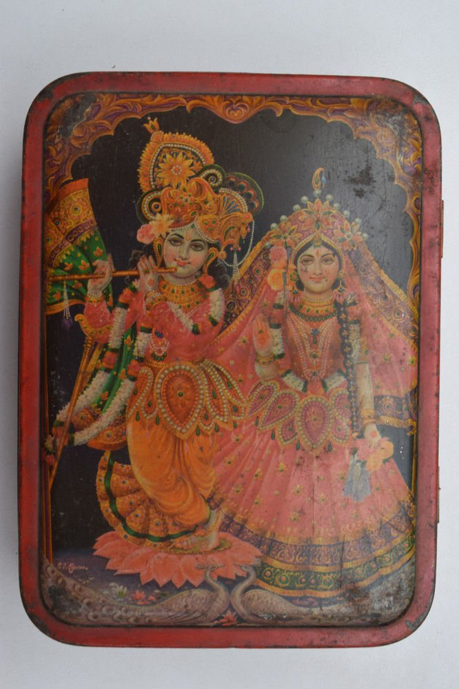 Old Sweets Tin Box, Rare Collectible Litho Printed Tin Boxes India #1408