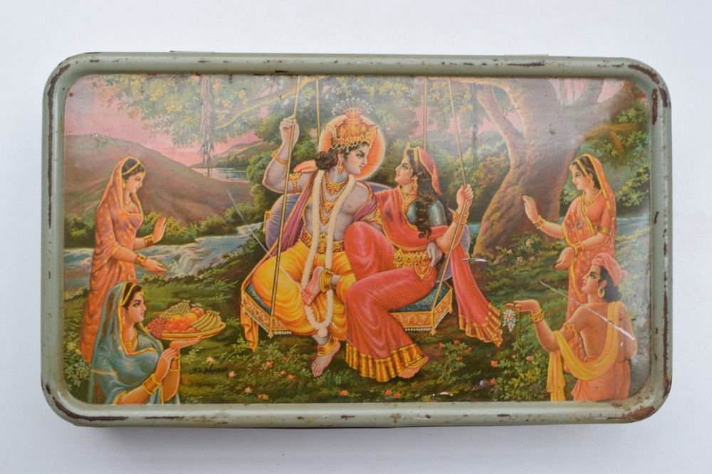Old Sweets Tin Box, Rare Collectible Litho Printed Tin Boxes India #1409