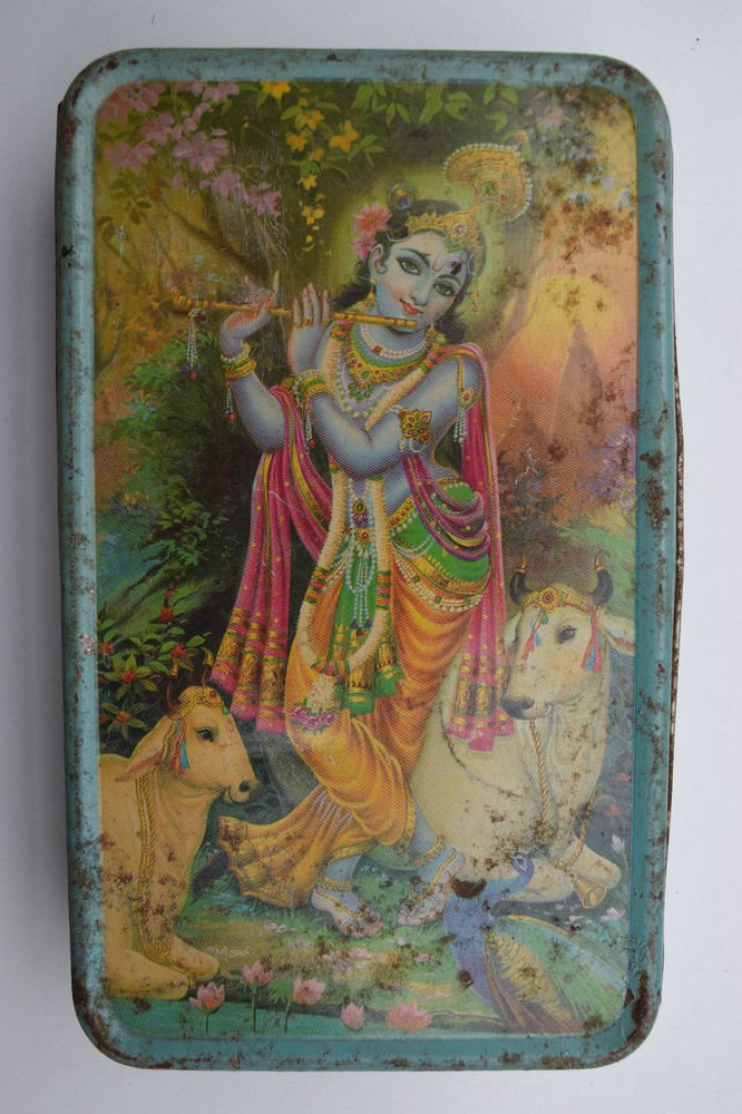 Old Sweets Tin Box, Rare Collectible Litho Printed Tin Boxes India #1423