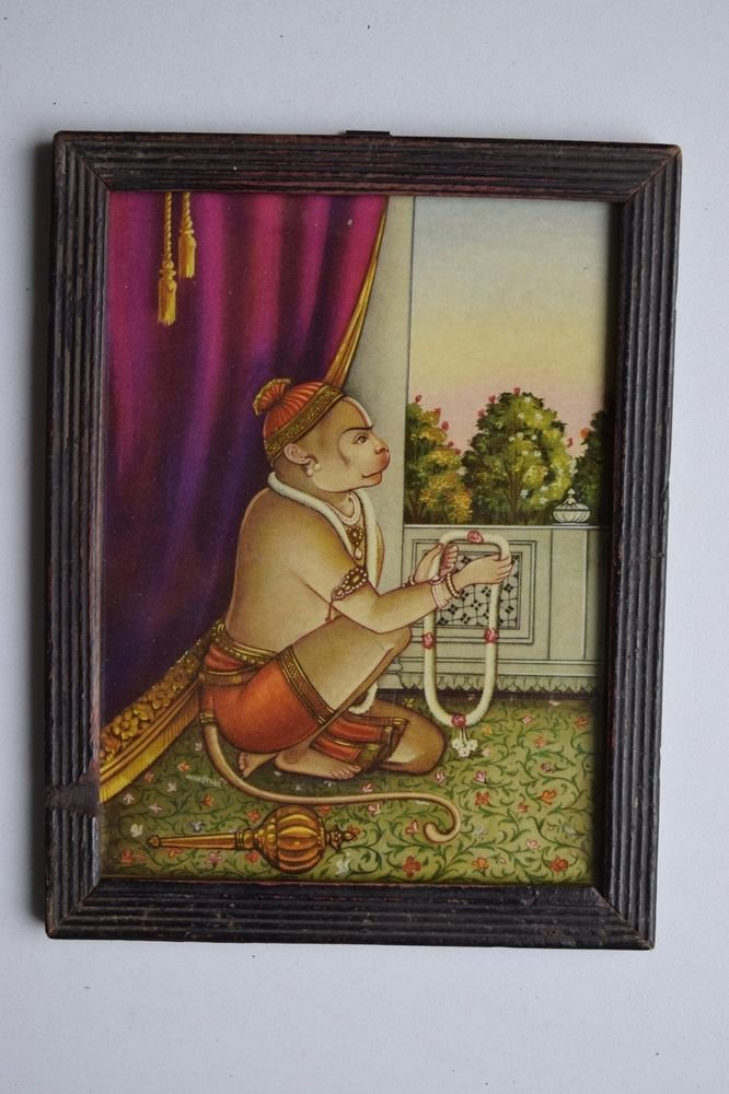 Monkey God Hanuman Collectible Original Print in Old Wooden Frame India #3154
