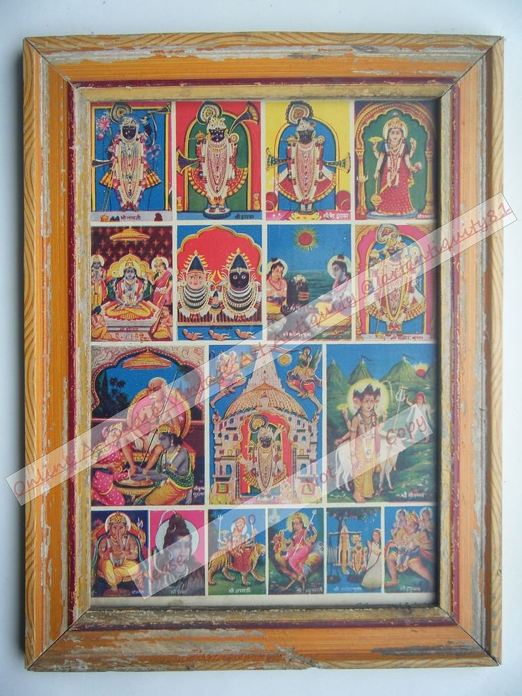 All Gods Krishna Rare Collectible Old Print in Old Wooden Frame India #2559