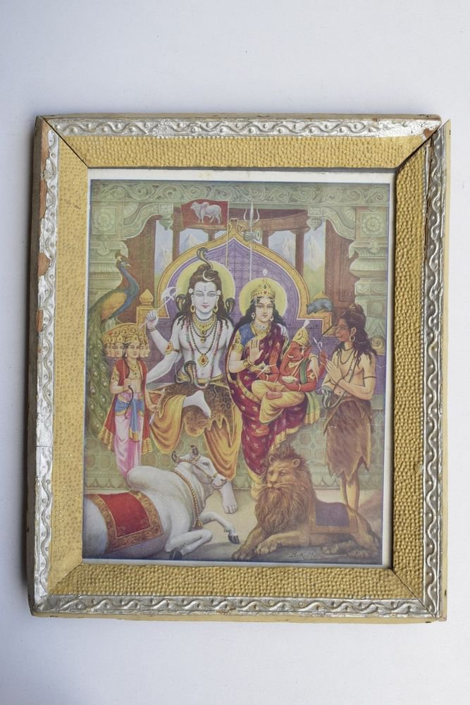 God Shiva Collectible Rare Beautiful Old Print in Old Wooden Frame India #3234