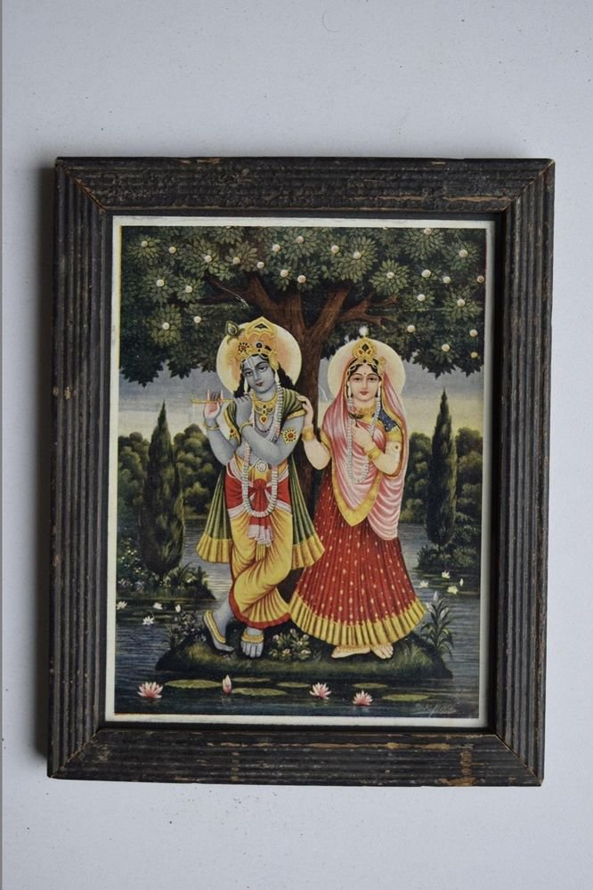 Hindu God Krishna Rare Collectible Old Religious Print in Old Wooden Frame #3183