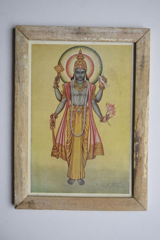 Hindu God Vishnu Rare Collectible Old Religious Print in Old Wooden Frame#3160