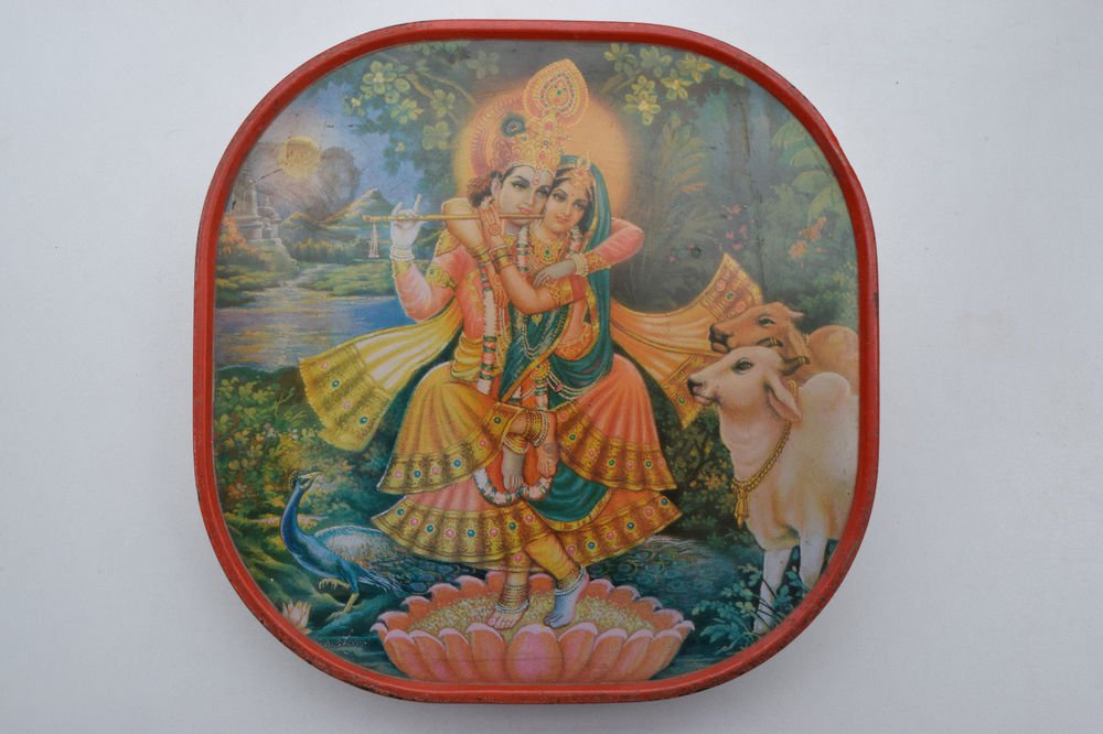 Old Sweets Tin Box, Rare Collectible Litho Printed Tin Boxes India #1393