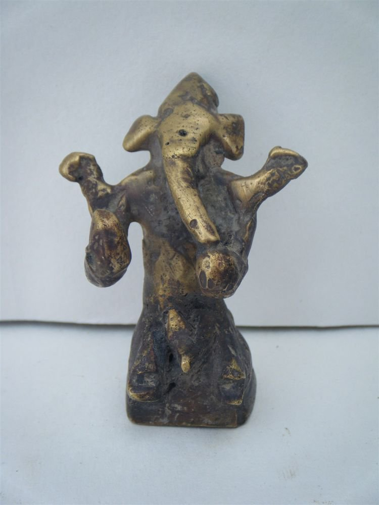 Antique Hindu God GANESHA Traditional Old Statue Brass Elephant God Rare #1067
