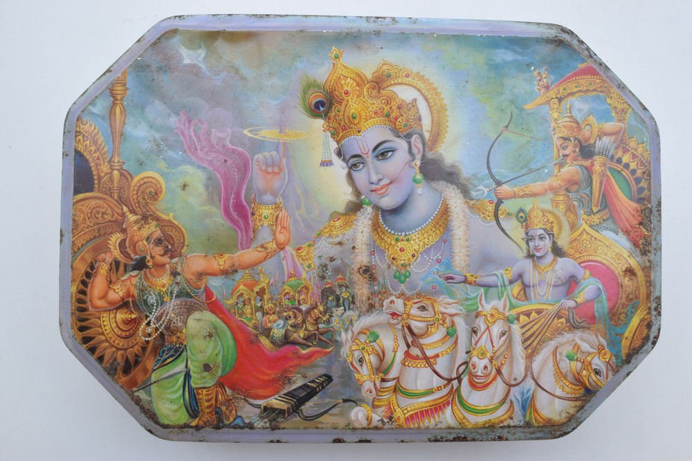 Old Sweets Tin Box, Rare Collectible Litho Printed Tin Boxes India #1356