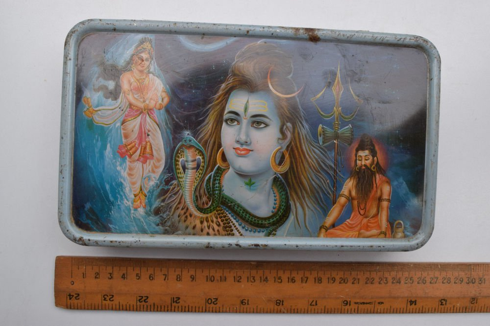 Old Sweets Tin Box, Rare Collectible Litho Printed Tin Boxes India #1385