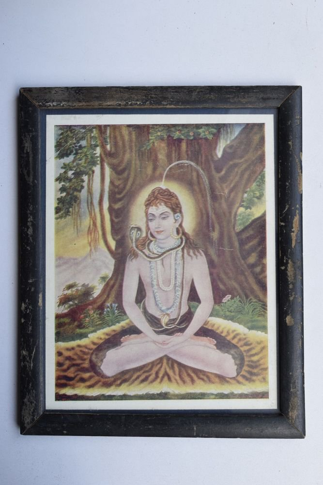 God Shiva Collectible Rare Beautiful Old Print in Old Wooden Frame India #3236