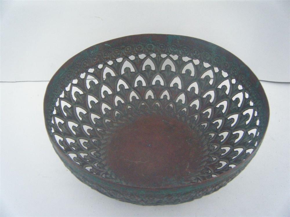 Brass Basket Rare Antique Decorative Flower Fruit Basket Collectible Old #999