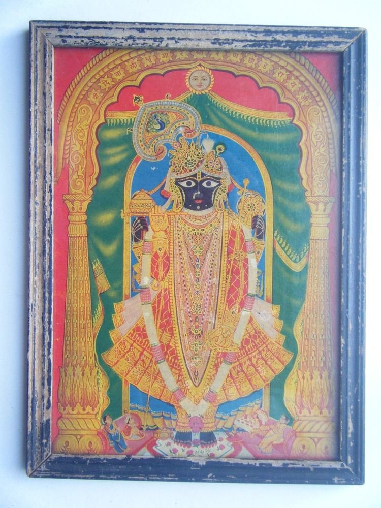 Hindu God Shrinathji Krishna Avatar Rare Old Print in Old Wooden Frame #2765