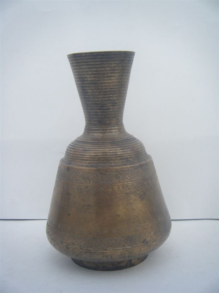 Ethnic Brass Flower Vase Rare Decorative Vase Collectible Old Engravings #995