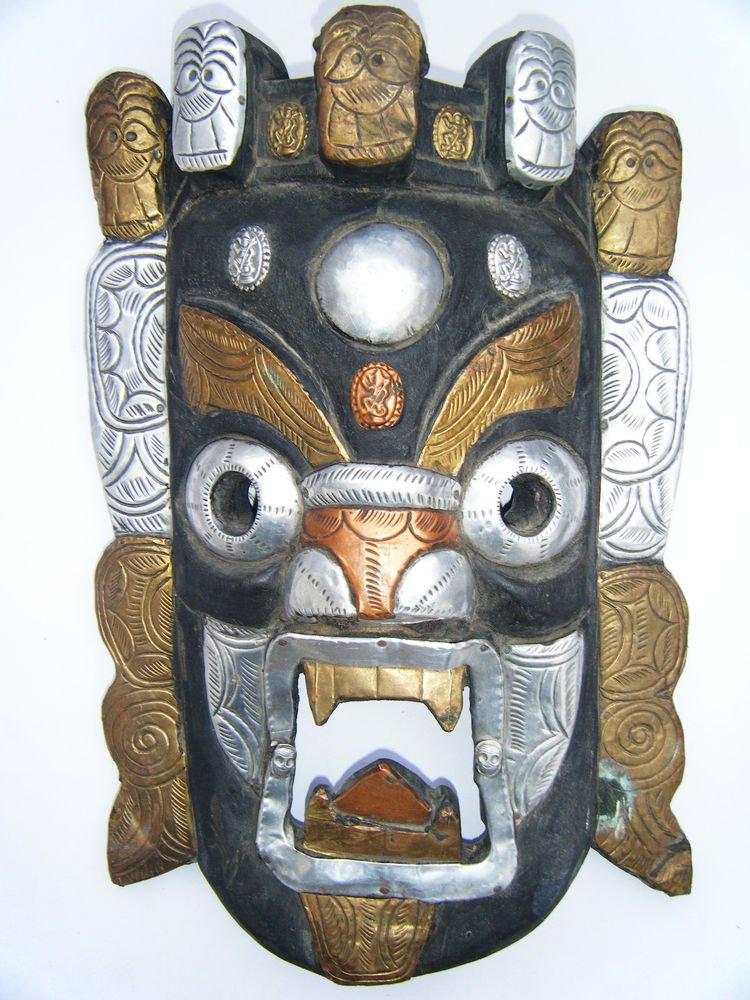Tribal Wooden Mask, Old Rare Hand Coloured Handmade Original African Mask  #1591