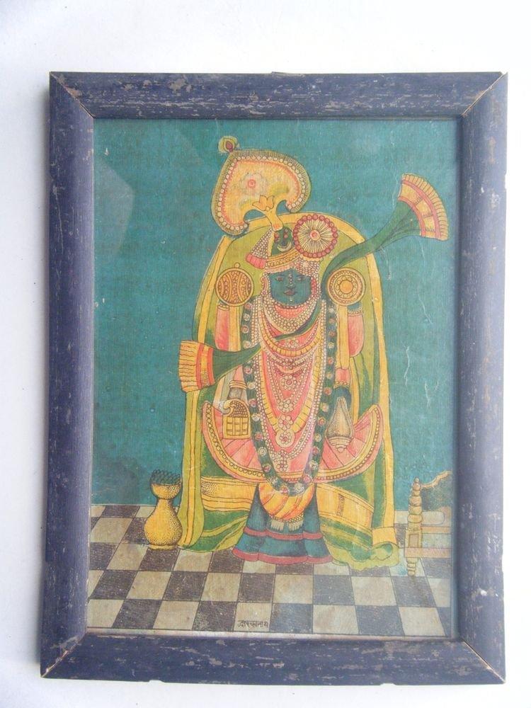 Shrinathji Krishna Dwaarkadhish God Old Print in Old Wooden Frame India #2753