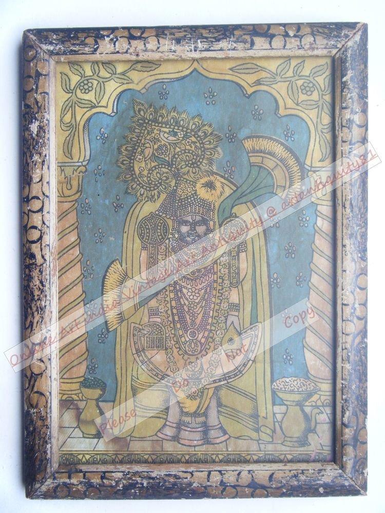 Shrinathji Krishna Avatar Home Worship Old Print in Old Wooden Frame India #2551