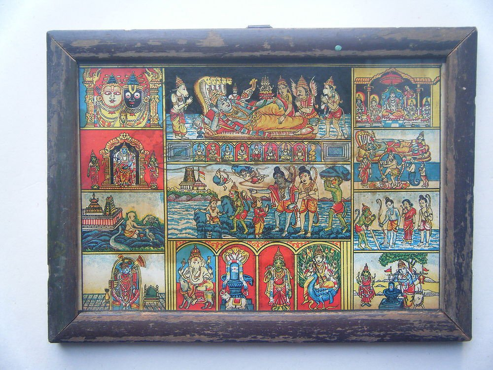 All Gods Vishnu Rare Collectible Original Print in Old Wooden Frame India #2781