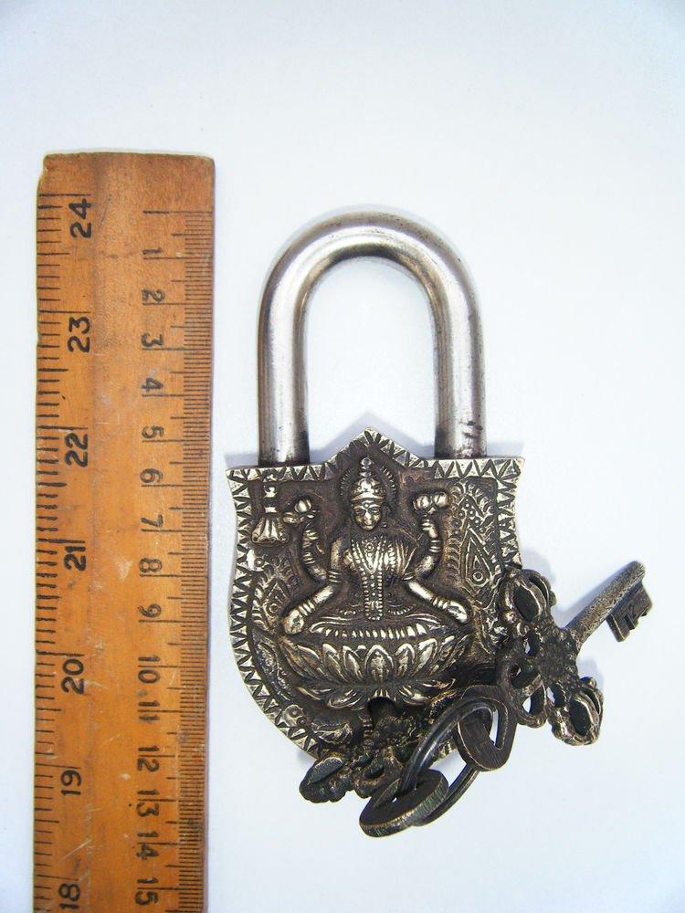 Goddess Brass Lock Antique Handmade Heavy Pad Lock Rare India Working #1188