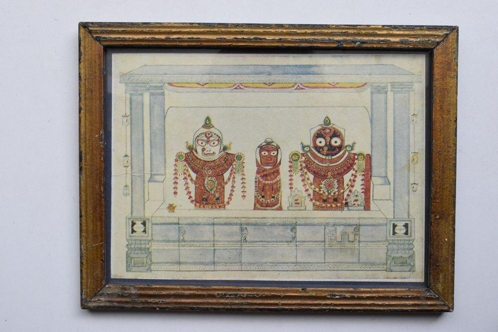 Rare Jagannath Puri Krishna Balraam Subhdra Original Old Print Orissa #3208