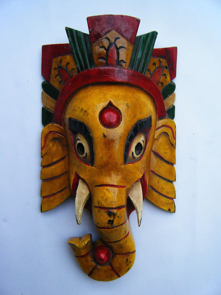 Ganesha Wooden Mask, Old Rare Hand Coloured Handmade Original Indian Mask  #1572