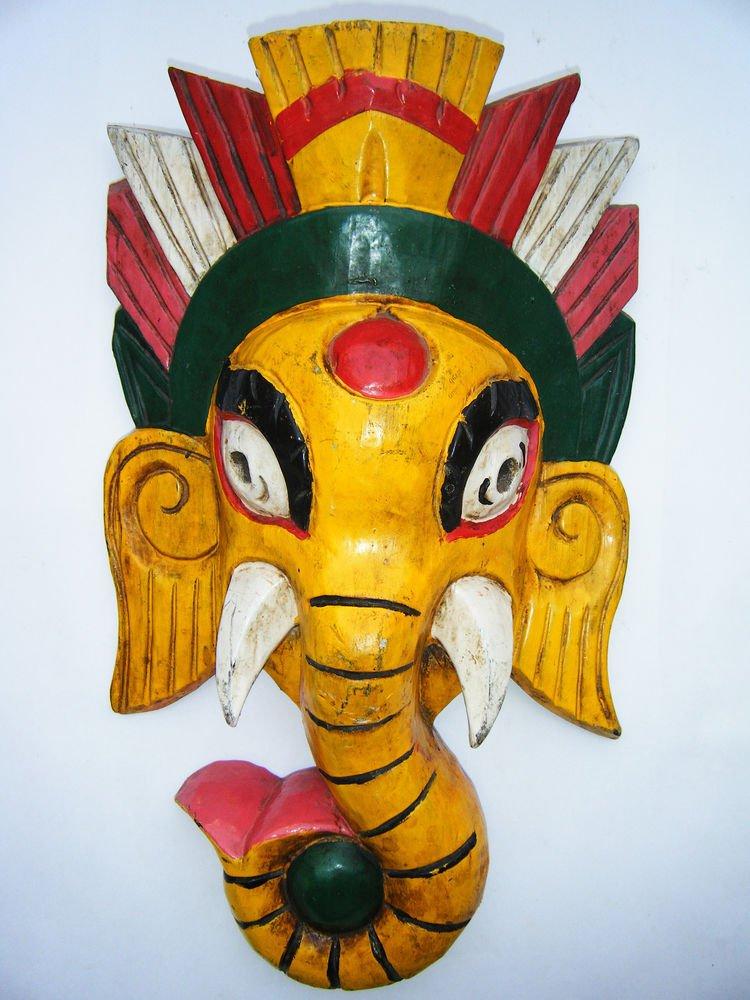 Ganesha Wooden Mask, Old Rare Hand Coloured Handmade Original Indian Mask  #1577