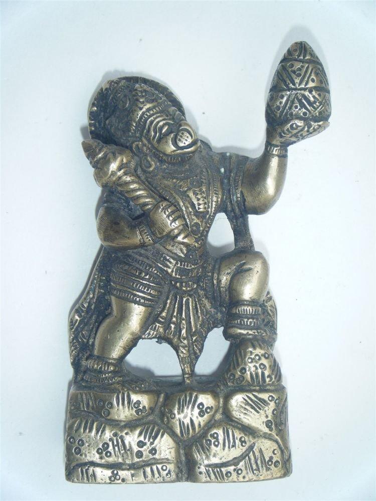 Brass Hanuman Antique Temple Statue Collectible Hindu Monkey God India #894