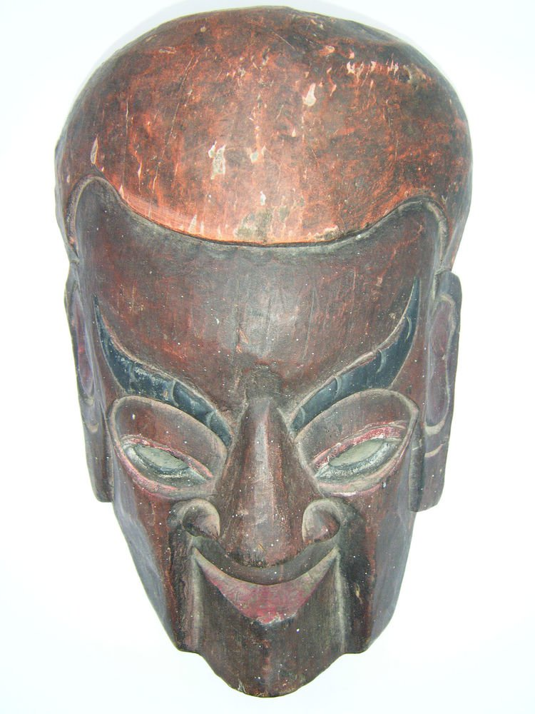 Tribal Wooden Mask, Old Rare Hand Coloured Handmade Original Indian Mask  #1584