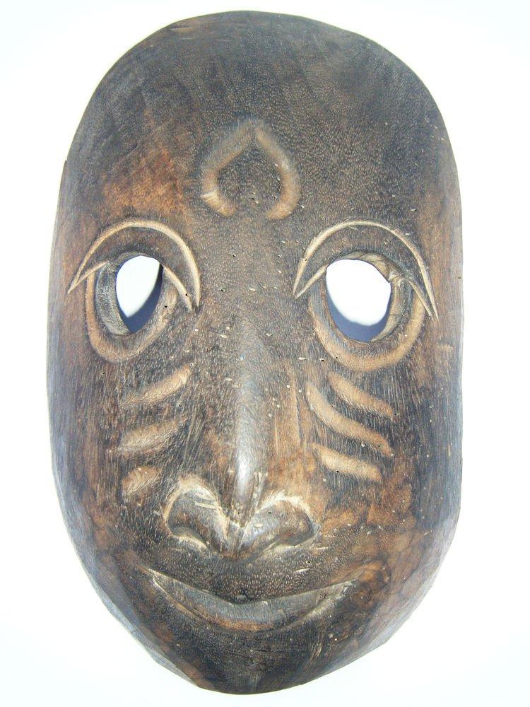 Tribal Wooden Mask, Old Rare Hand Coloured Handmade Original African Mask  #1592