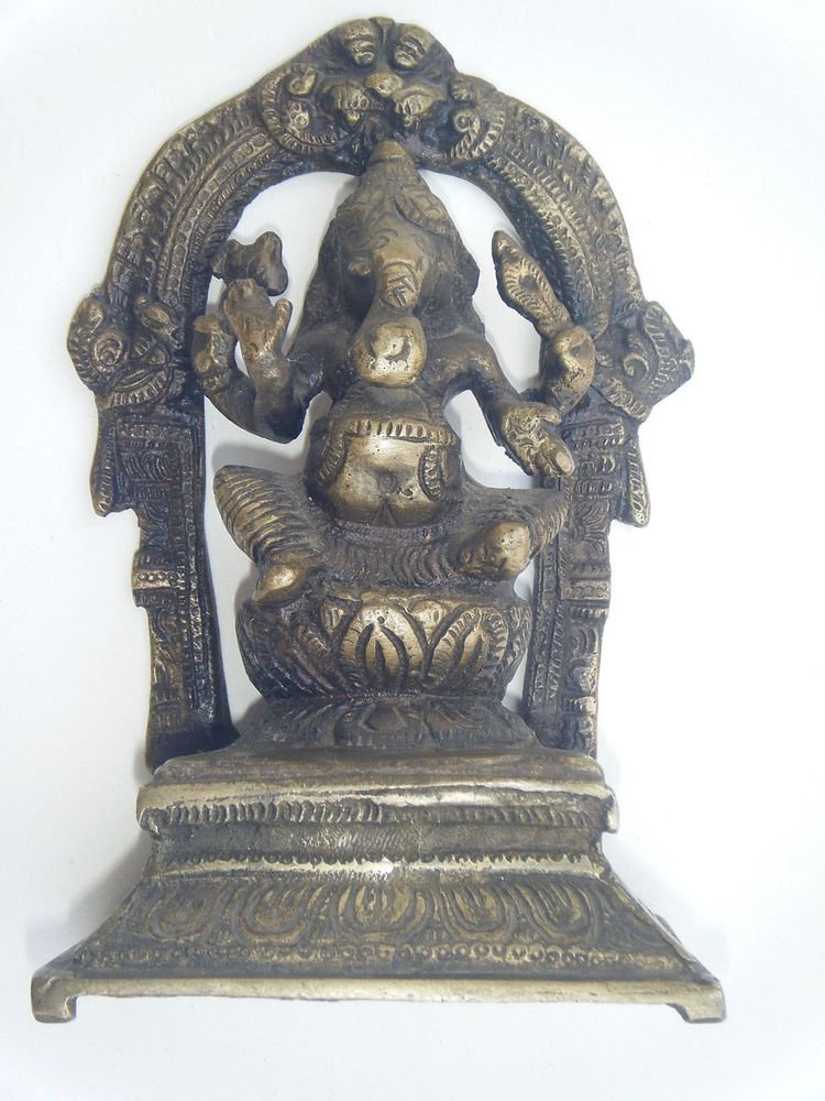 Antique Hindu God GANESHA Traditional Indian Statue Brass Elephant God Rare #855