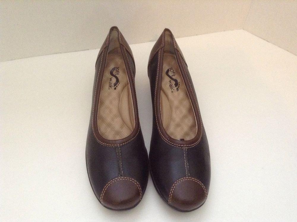 Soft Walk Black Brown Leather 7.5 M Women's Slip On Pumps