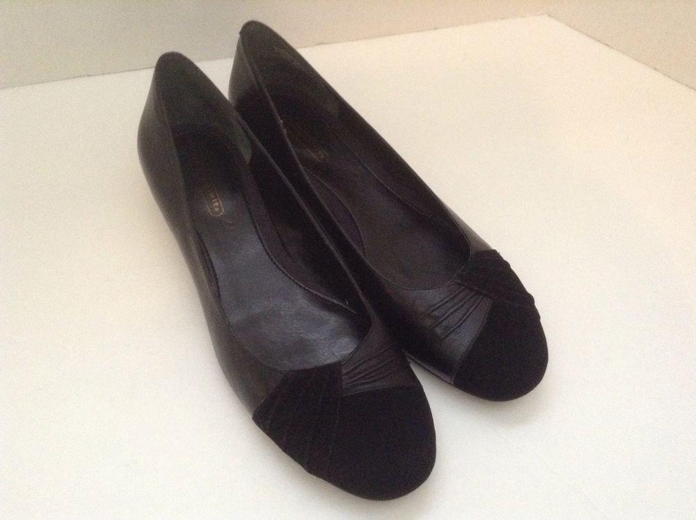 Easy Spirit Black Leather Women's Kitten Heels Slip On Casual Comfort 8.5M