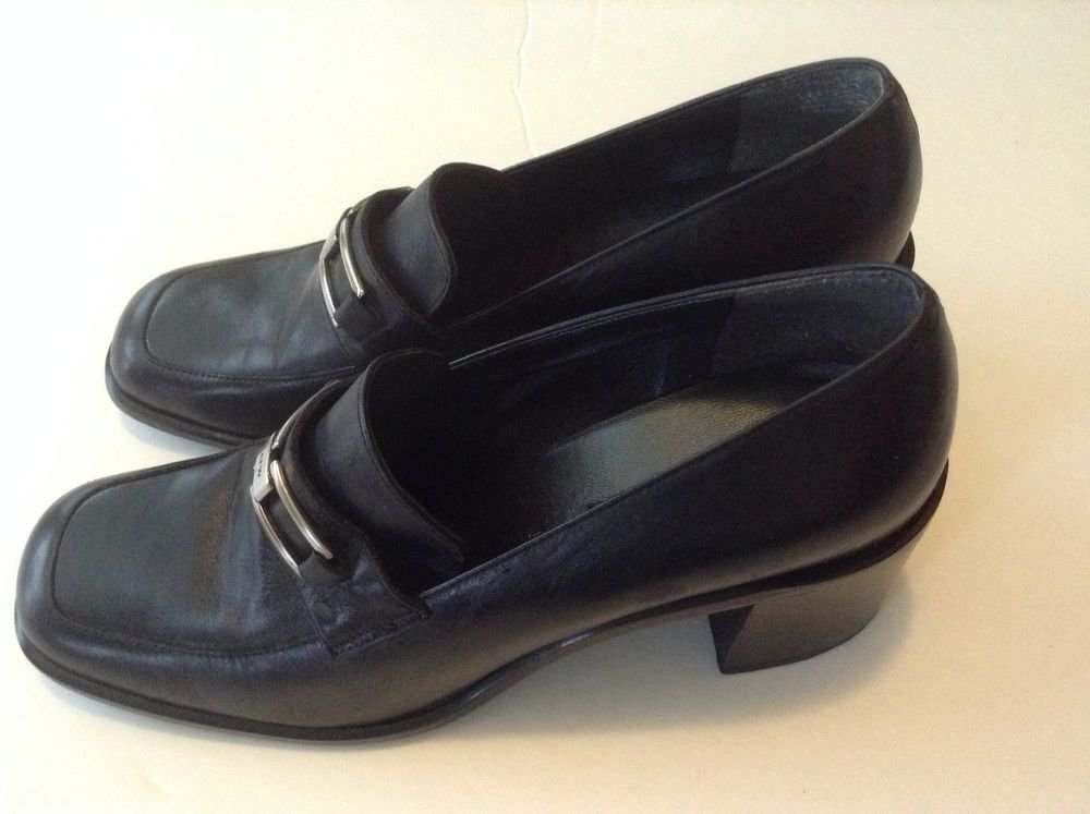 NINE WEST SHOES BLACK LEATHER CASUAL LOAFERS WOMEN'S SZ 8M